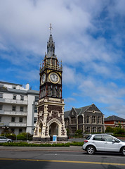 Time for Lunch (Jocey K) Tags: trees newzealand christchurch sky cars clock architecture clouds buildings clocktower victoiriast