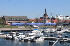 Ystad marina, church and train (Maukee) Tags: ystad sweden