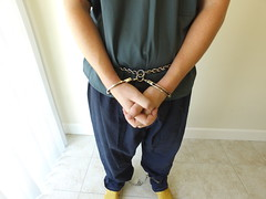 Blue Uniform (boblaly) Tags: inmate prison prisoner jail uniform jumpsuit blue detention handcuffs chain belly waist handcuffed cuffs cuffed chained