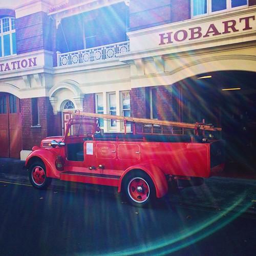 126/365 • FIRE!!! • #126_2015 #tasmania2015 #hobart #mybirthdayjourney #fireengine #red #vintage #sunflare