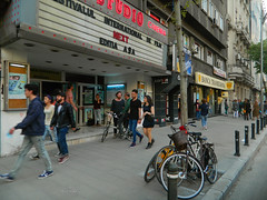 Bucharest: Cinema Studio (1945) (Carpathianland) Tags: street people architecture strada pedestrian streetscene scene romania pedestrians scena streetscape bucuresti piata oameni bulevardul arhitectura trecatori stradala