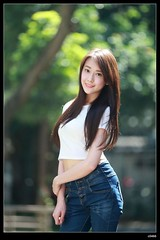 nEO_IMG_DP1U0214 (c0466art) Tags: morning blue school light portrait white girl beautiful face shirt female canon eyes asia long slim jean outdoor body quality gorgeous sunday leg taiwan attractive charming activity pure 1dx c0466art