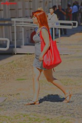 phosphorus (archgionni) Tags: red girl beauty hair bag walking student legs young rosso borsa bellezza ragazza gambe capelli camminare giovane studente