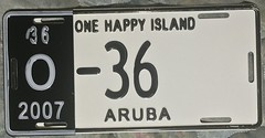ARUBA 2007 ---LICENSE PLATE with HALF YEAR TAB (woody1778a) Tags: aruba licenseplate numberplate mycollection myhobby alpca1778 licenses 2010 2007 carrier caribbean