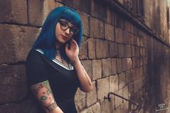 Saya (rubenfcid) Tags: saya gtico gothic gotic barcelona bcn barriogtico street goticstreet fashion bluehair girl woman lady door tattoo tattoos