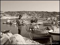 Greek Fisherman (Pablo101) Tags: rodos rhodes blackandwhite fisherman sea kolymbia