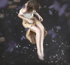 The Collection of Forgotten Things (Michelle.A.M.) Tags: birds eye view river water ripples dead flowers roses white black yellow purple legs hands bruentte woman girl model whimsical serene mysterious collection traces bricks ruins lost alone forgotten runaway self portrait