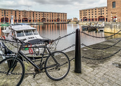 Albert Dock (Bev Goodwin) Tags: albertdock liverpool bike bicycle northwest boats england tate