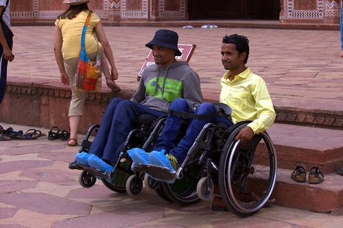 Accessible Tour of Taj Mahal: Travellers happily posing for the camera.