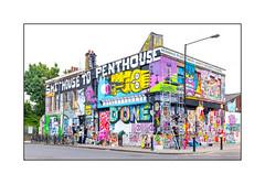 Graffiti (Burning Candy Crew, etc), East London, England. (Joseph O'Malley64) Tags: sweettoof dscreet mightymonkey goldenpeg malarky mobstr welikestatic donk edwin graffiti streetart eastlondon eastend london england uk britain british greatbritain burningcandy burningcandycrew variousartists lordnapierpublichouse murals muralists wall walls wallmurals brickwork georgianbuilding abandoned abandonedbuilding accesstower bollards railings cycleparking londonplanetrees pavement granitekerbing tarmac pasteups ghettocreation rippingthesouloutofanartisticcommunity highdensityhousing yetanothertescosupermarket shithousetopenthouse hackneywickedweekend2016
