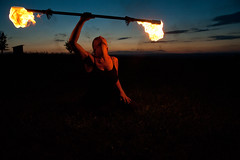 fire during sunset (TeDi62) Tags: fire clouds sunset vystrkov czech woman outdoor dance sky