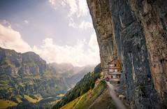 Gasthaus Aescher-Wildkirchli (brue') Tags: aescher scher aescherwildkirchli gasthaus appenzell schweiz svizzera svizra switzerland suisse light ebenalp wasserauen ai ch guest house inn mountain lake landscape rock seealpsee