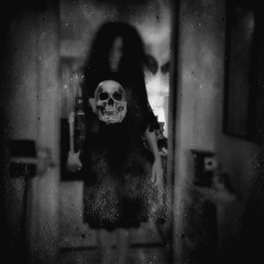 Harbinger (Creepella Gruesome) Tags: creepellagruesome selfportrait ghost skull ipadpro hipstamatic squareformat blackandwhite blur surreal dark haunted phantasm