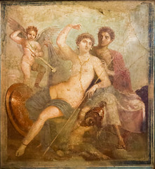 IMG_0842 (jaglazier) Tags: 1stcentury 1stcenturyad 2016 3rdstyle 72416 9248 adults architecturalelements armor barechested campania copyright2016jamesaglazier crafts eros frescoes helen heroes italy july men museoarcheologiconazionaledinapoli museums naked naples napoli painting paris pompeii roman women art barefoot cupids fresco helmets nude shields spears swords wallpainting weapons