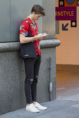 094A8769 v2 (Wheels Down) Tags: tornjeans jeans cute candid nyc streetphotography twink hottie prettyboy bag iphone