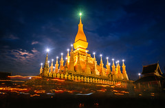 Pha That Luang at Dusk, Vientiane, Laos (syukaery) Tags: trip travel vacation tourism festival night asia dusk stupa buddhist faith religion buddhism d750 ritual procession laos tamron vientiane 1735mm laotian lighttrail vsco
