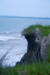 OceanBlue (tiki.thing) Tags: rosslare rosslareharbour ocean sea cliff erosion waves dusk ireland coast blue green grass