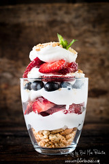 Berry dessert (Uros Zunic (Belgrade photography guid, contact me)) Tags: summer food glass cookies dessert photography wooden berry dish sweet background creative cream strawberries nobody fresh delicious biscuit vanilla yogurt blueberries ripe whipped refreshment layered berryfruit