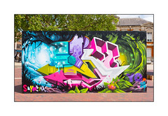 Graffiti (Sky High), South London, England. (Joseph O'Malley64) Tags: uk greatbritain england streetart london graffiti mural paint panel britain spray british cans aerosol southlondon townsquare muralist skyhigh blockpaving victorianbuilding londonplanetree