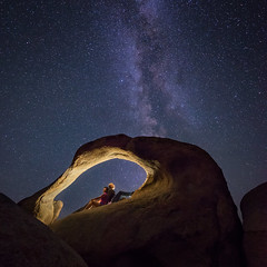 Time Portal (David Colombo Photography) Tags: california blue sky lightpainting rock night stars gold nikon arch outdoor earth galaxy astrophotography lonepine d800 milkyway easternsierra alabamahills mobiusarch davidcolombo davidcolombophotography