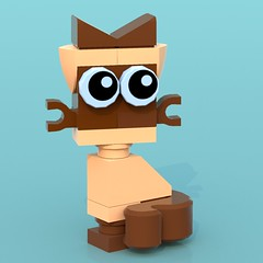 Siamese Cat (Unijob Lindo) Tags: lego ldd digital designer blue render bluerender seams cat kitten cats siamese seal point sealpoint unikitty uni googly eyes mixels tail beige tan brown whiskers clips chese slopes