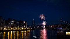 Feu d'Artifice du 14 Juillet, Lige (MHPhotography91) Tags: sunset tower port canon stars french landscape golden boat long exposure day cityscape angle belgium fireworks outdoor wide july national hour 14th bastille 1740mm finance lige desaturate 2016 canon6d mhphotography