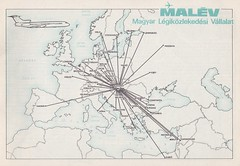 MALEV Hungarian Airlines Route Map with TU-154 logo (KristofCs) Tags: malevroutemap malv tu154 flight malevflightstoeurope map ty154 logo hungarian airlines lgikzlekedsi vllalat aviation tupolev europe cities european hungary budapest