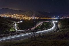 My hometown (acipinarli) Tags: road mountains night landscape lights star town trail lighttrail