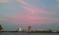 2014 (elvendreams) Tags: pink sunset blue clouds romantic moon sea water building industrial urban city tokyo japan