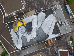 SUDBURY 08.2016 (Ella et Pitr, les Papiers Peintres) Tags: sudbury streetart roof sol floor drawing parterre ella pitr painting drone sky