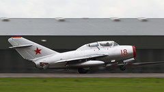 Yeovilton2016_MiG-15_06 (andys1616) Tags: mikoyan gurevich mig15uti red18 n104cj norwegianairforcehistoricalflight royalnavalairstation rnas yeovilton airday airshow somerset july 2016