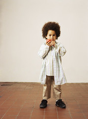 nsk217378 (vkpone) Tags: 56years africanamerican africandescent afro boy caucasian child indoor kid male multiracial onepersononly posing studioshot white apple eyecontact food fruit holding standing fulllength frontview