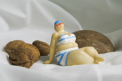nuts about the girl (Mark Rigler UK) Tags: fat lass girl model plus size biibs tetas walnut nut coconut shell swin suit white background