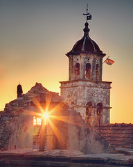 faith in time of abandonment (cherryspicks (on/off)) Tags: korcula blato architecture building historic stonework church spire sun sunlight sunburst sunset abandonment worship travel outdoor window derelict depopulation adriatic croatia mediterranean