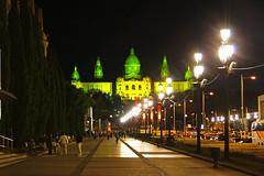Barcelona by night. Av. Reina Maria Cristina (Andrey Sulitskiy) Tags: spain barcelona