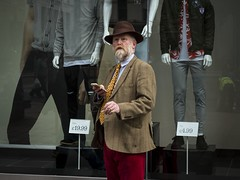Next Season (Leanne Boulton) Tags: urban street candid portrait portraiture streetphotography candidstreetphotography candidportrait streetlife man male face facial expression beard hat tweed corduroy fashion style smoke smoker smoking cigarette window reflection mannequin juxtaposition startled tone texture detail natural outdoor light shade shadow city scene human life living humanity society culture people canon 7d 50mm color colour glasgow scotland uk