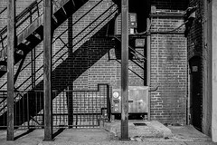 6346 (Ben at St. Louis Energized) Tags: stl stlouis delmarloop universitycity tivolitheater building architecture brick stairs shadows city urban blackandwhite monochrome