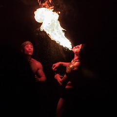 Fire eaters (tik_tok) Tags: fire fireeater stunt danger heat hot singapore singaporezoo nightsafari asia man night