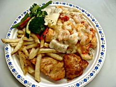 Chicken and Shrimp (knightbefore_99) Tags: food hot art chicken work movie lunch amazing tasty shrimp broccoli victoria eat crew fries caterer