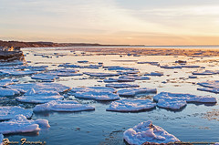 Grand Sable Banks sunset April 18 2015 logo (Gary of the North(Footsore Fotography)) Tags: sunset ice beach 12 lakesuperior mile picturedrocksnationallakeshore 12milebeach garymccormick footsorefotography