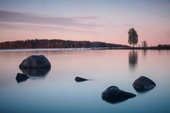 Rock Ballad (trm42) Tags: longexposure sunset sea tree suomi finland evening spring helsinki rocks birch meri ilta vuosaari kevt uutela