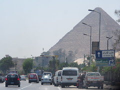 People think The pyramides are far away from The city center, but here you see how close they are to Giza!