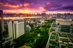Daiba Sunset (Otomaru3) Tags: city sunset sun buildings tokyo twilight purple jp  odaiba
