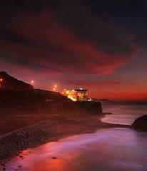smoldering sky at the palace (louie imaging) Tags: ocean sf city sky beach evening bath ruins san francisco romance sutro romantic cliffhouse