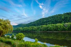 Susquehanna River landscape (FotoFloridian) Tags: summer sky newyork water clouds river dusk sony hdr susquehanna owego a6000