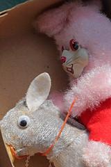 A Pink Rabbit Riding A Donkey (peterkelly) Tags: digital ontario canada northamerica canon 6d aberfoyle aberfoyleantiquemarket rabbit mule pink grey box toy