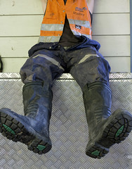 break time (MudboyUK) Tags: boots wearing worker welding dirty weldingboots overalls coverall
