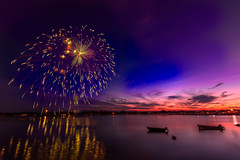 Fireworks at sunset (Alec_Hickman) Tags: ocean sea sky seascape canada water river landscape boats bay nikon colours fireworks wideangle newbrunswick inlet waterscape 1635