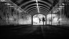Distance (Bokehschtig (OFF)) Tags: munich street tunnel dof pov mnchen light licht dark monochrome blackwhite