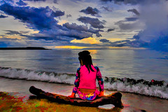 Jia while watching the sunset (alvinpurexphotography) Tags: sunset beach water girl landscape waiting
